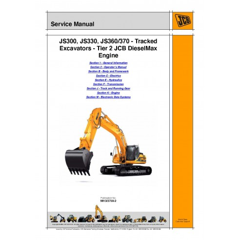 Manual de servicio de la excavadora Jcb JS300, / JS330 / JS370 Tier 2 - JCB manuales