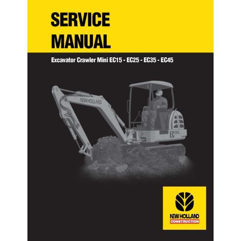 Manual de serviço da escavadeira compacta New Holland EC15 / EC25 / EC35 / EC45 - New Holland Construction manuais
