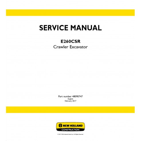 New Holland E260CSR excavator service manual