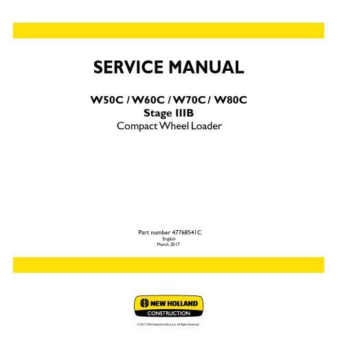 Manual de serviço da carregadeira de rodas compacta New Holland W50C / W60C / W70C / W80C Stage 3B - New Holland Construction...