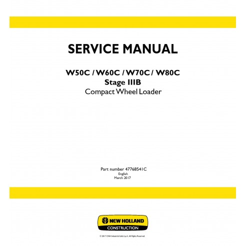 New Holland W50C / W60C / W70C / W80C Stage 3B compact wheel loader service manual - New Holland Construction manuals