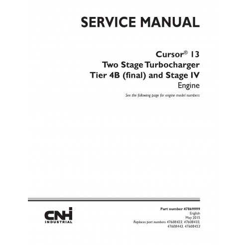 Manual de serviço do motor New Holland Cursor 13 Tier 4B e Estágio IV - New Holland Construction manuais