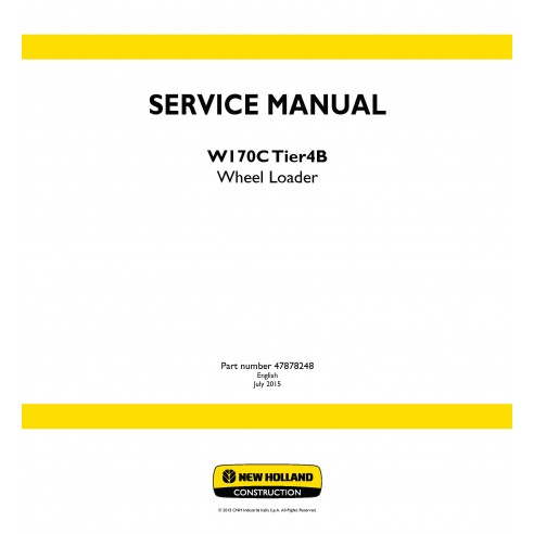 New Holland W170C Tier4B wheel loader service manual
