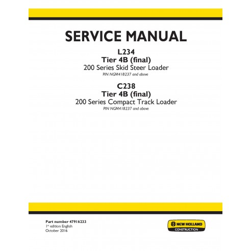 New Holland L234 / C238 Tier 4B skid loader service manual