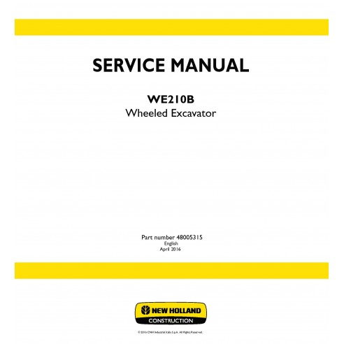 New Holland WE210B wheeled excavator service manual - New Holland Construction manuals