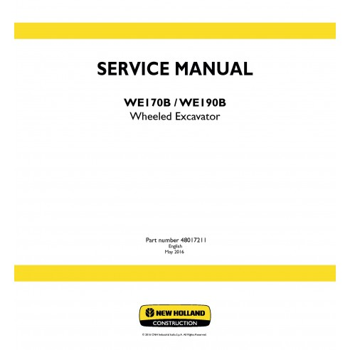 New Holland WE170B / WE190B wheeled excavator service manual - New Holland Construction manuals