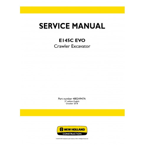New Holland E145C ECO crawler excavator service manual - New Holland Construction manuals