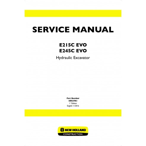 Manual de serviço da escavadeira de esteira New Holland E215C ECO / E245C ECO - New Holland Construction manuais
