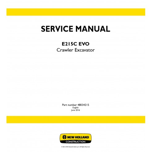 New Holland E215C EVO crawler excavator service manual - New Holland Construction manuals