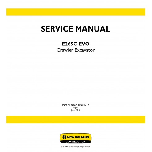 New Holland E265C EVO crawler excavator service manual