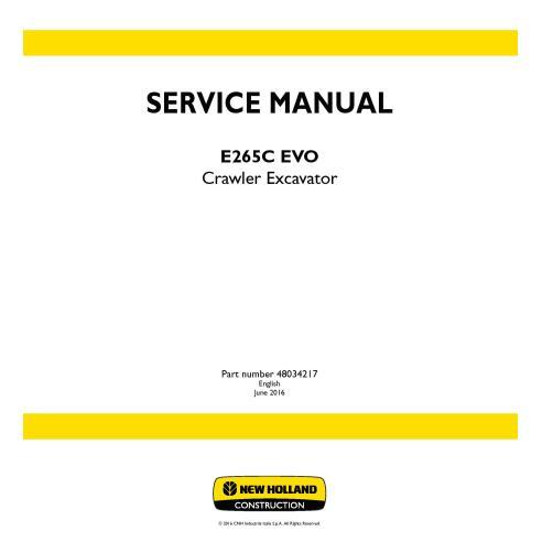 Manual de serviço da escavadeira de esteira New Holland E265C EVO - New Holland Construction manuais