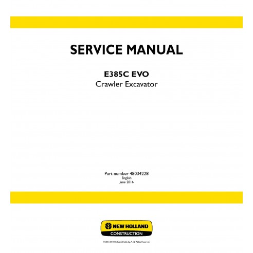 New Holland E385C EVO crawler excavator service manual - New Holland Construction manuals