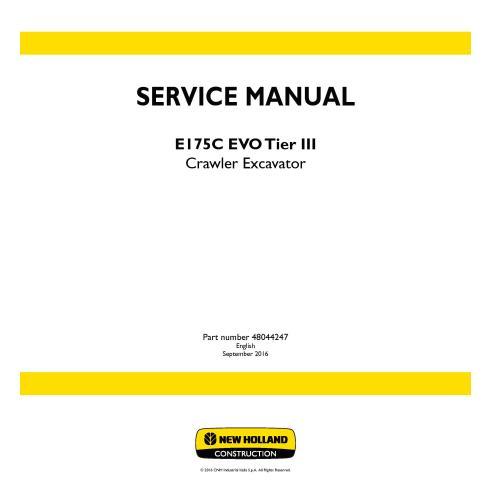 New Holland E175C EVO Tier III crawler excavator service manual - New Holland Construction manuals