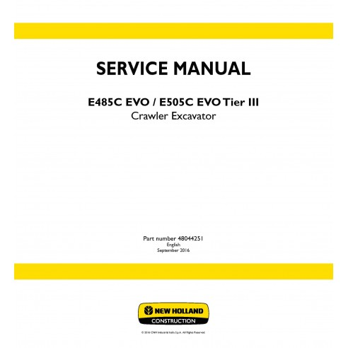 New Holland E485C EVO / E505C EVO Tier III crawler excavator service manual - New Holland Construction manuals