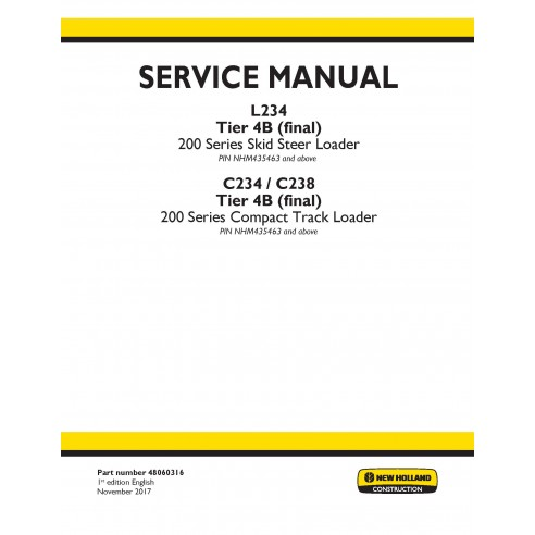 New Holland L234 / C234 / C238 Tier 4B skid loader service manual - New Holland Construction manuals