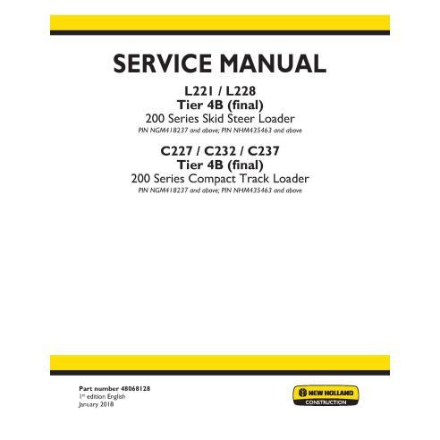 Manuel d'entretien des chargeuses compactes New Holland L221 / L228 / C227 / C232 / C237 Tier 4B - Construction New Holland m...