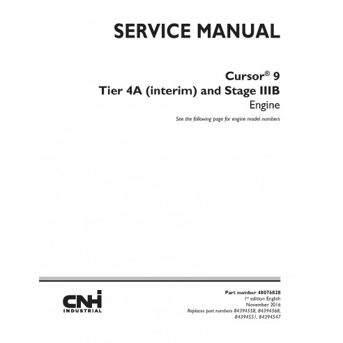 New Holland Cursor 9 Tier 4A and Stage IIIB engine service manual - New Holland Construction manuals