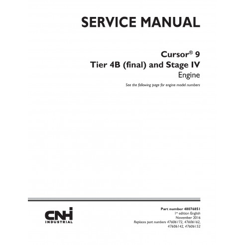 New Holland Cursor 9 Tier 4B and Stage IV engine service manual - New Holland Construction manuals