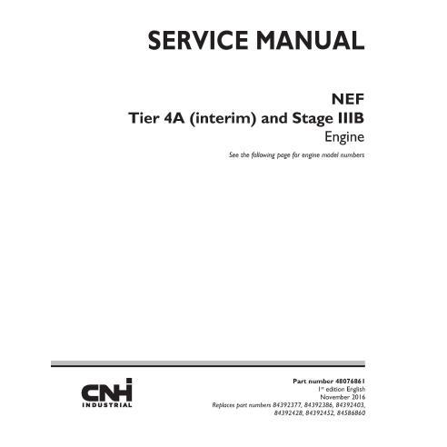 Manual de serviço do motor New Holland NEF Tier 4A e Estágio IIIB - New Holland Construction manuais