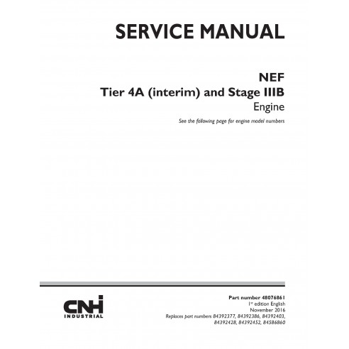 New Holland NEF Tier 4A and Stage IIIB engine service manual - New Holland Construction manuals