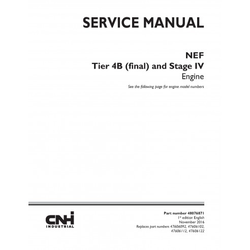New Holland NEF Tier 4B and Stage IV engine service manual