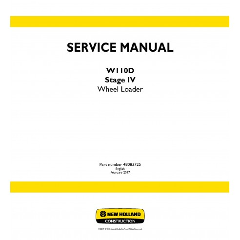 New Holland W110D Stage IV wheel loader service manual - New Holland Construction manuals