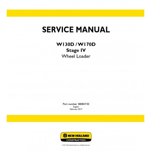 New Holland W130D / W170D Stage IV wheel loader service manual - New Holland Construction manuals