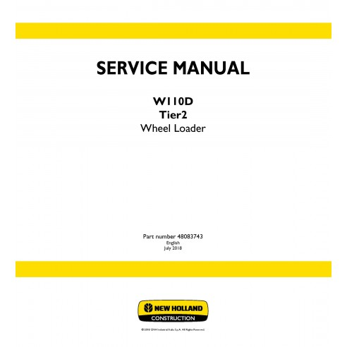 New Holland W110D Tier2 wheel loader service manual - New Holland Construction manuals