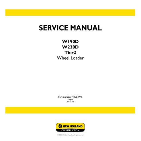 Manuel d'entretien du chargeur sur pneus New Holland W190D / W230D Tier 2 - Construction New Holland manuels