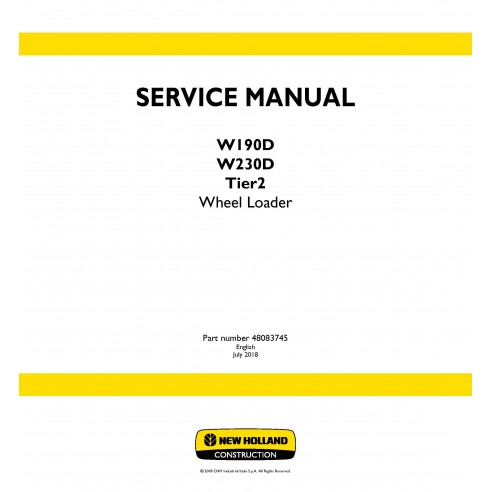 New Holland W190D / W230D Tier 2 wheel loader service manual - New Holland Construction manuals