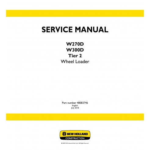 New Holland W270D / W300D Tier 2 wheel loader service manual - New Holland Construction manuals