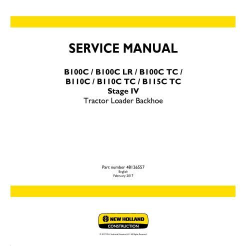 Manual de serviço da retroescavadeira New Holland B100C / B100C LR / B100C TC / B110C / B110C TC / B115C TC Estágio IV - New ...