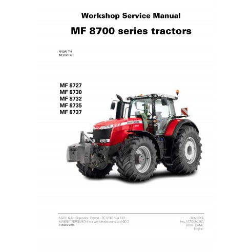 Massey Ferguson 8727 / 8730 / 8732 / 8735 / 8737 tractor workshop service manual