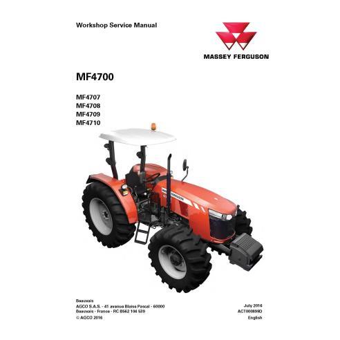 Manual de serviço de oficina do trator Massey Ferguson 4707/4708 / F4709 / 4710 - Massey Ferguson manuais