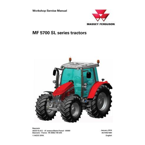 Manuel d'entretien d'atelier de tracteur Massey Ferguson 5710 SL / 5711 SL / 5712 SL / 5713 SL - Massey Ferguson manuels