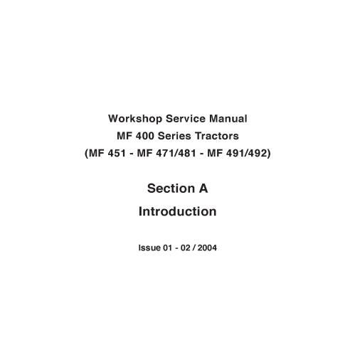Massey Ferguson 451 / 471 / 481 / 491 / 492 tractor workshop service manual - Massey Ferguson manuals