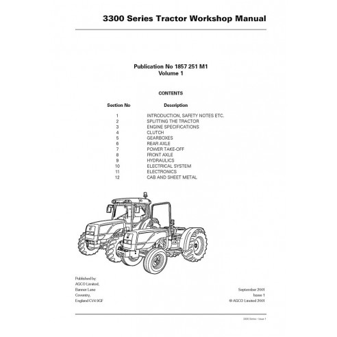 Manual de serviço de oficina do trator Massey Ferguson 3315/3325/3330/3340/3350/3355 - Massey Ferguson manuais