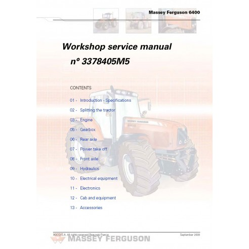 Massey Ferguson 6445 / 6455 / 6460 / 6465 / 6470 / 6475 / 6480 / 6485 / 6490 tractor workshop service manual-Massey Ferguson