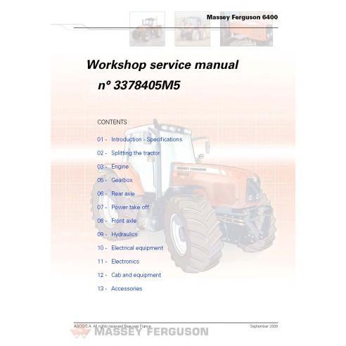 Manuel de service d'atelier de tracteur Massey Ferguson 6445/6455/6460/6465/6470/6475/6480/6485/6490 - Massey Ferguson manuels