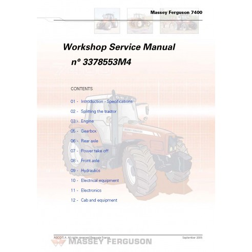 Massey Ferguson 7465 / 7475 / 7480 / 7485 / 7490 / 7495 tractor workshop service manual