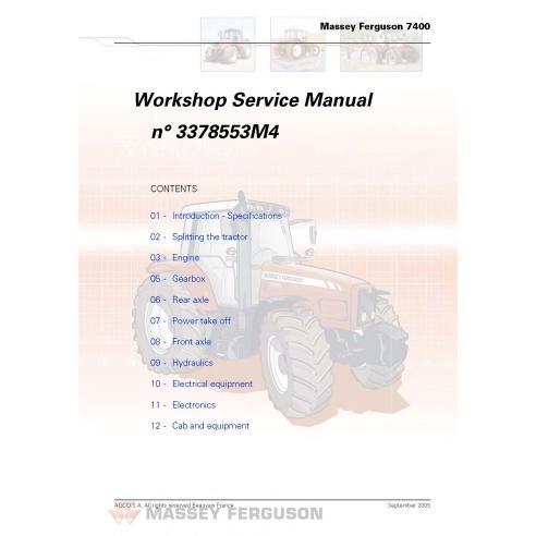 Massey Ferguson 7465/7475/7480/7485/7490/7495 manual de servicio del taller del tractor - Massey Ferguson manuales