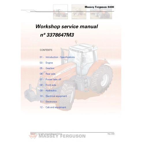 Manuel de service d'atelier de tracteur Massey Ferguson 8450/8460/8470/8480 - Massey Ferguson manuels