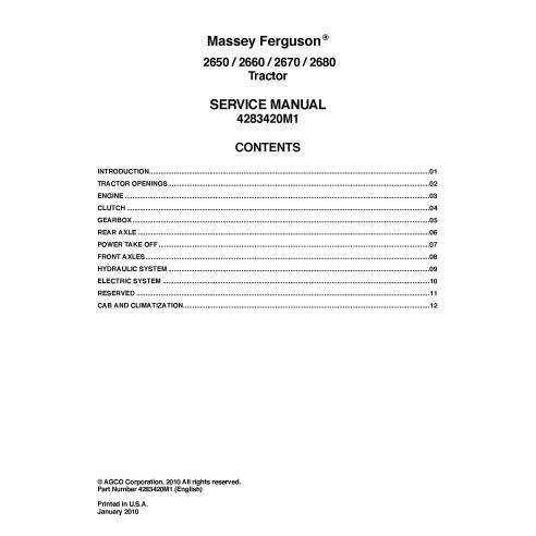 Manuel d'entretien du tracteur Massey Ferguson 2650/2660/2670/2680 - Massey Ferguson manuels