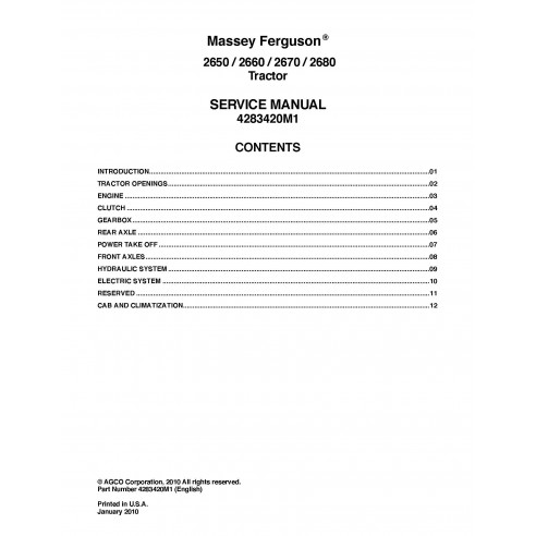 Massey Ferguson 2650 / 2660 / 2670 /2680 tractor service manual - Massey Ferguson manuals