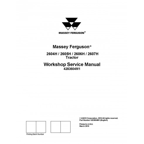 Massey Ferguson 2604H / 2605H /  2606H / 2607H tractor workshop service manual