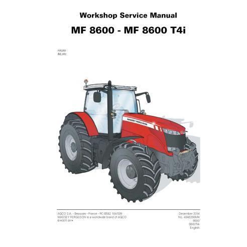 Manuel d'entretien d'atelier de tracteur Massey Ferguson 8650/8660/8670/8680/8690 - Massey Ferguson manuels