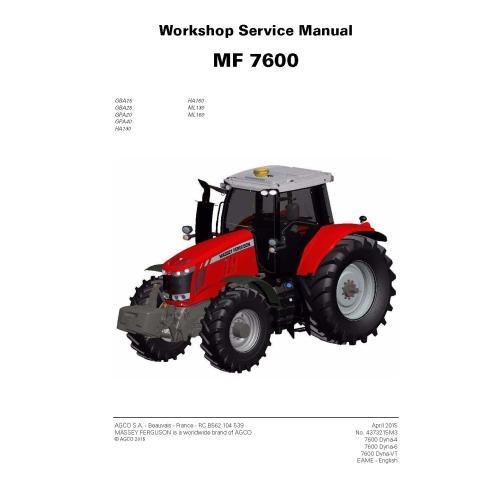 Massey Ferguson 7614/7615/7616/7618/7619/7620/7622/7624/7626 manuel de service d'atelier de tracteur - Massey Ferguson manuels