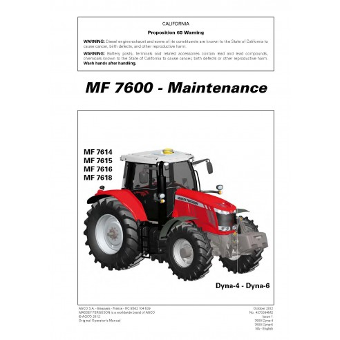 Massey Ferguson 7614 / 7615 / 7616 / 7618 tractor maintenance manual
