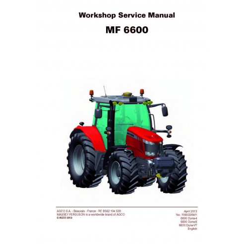 Massey Ferguson 6612 / 6613 / 6614 / 6615 / 6616 tractor workshop service manual - Massey Ferguson manuals
