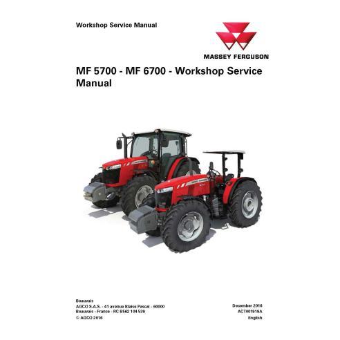 Massey Ferguson 5708 / 5709 / 5710 / 6711 / 6711 / 6712 / 6713 tractor workshop service manual